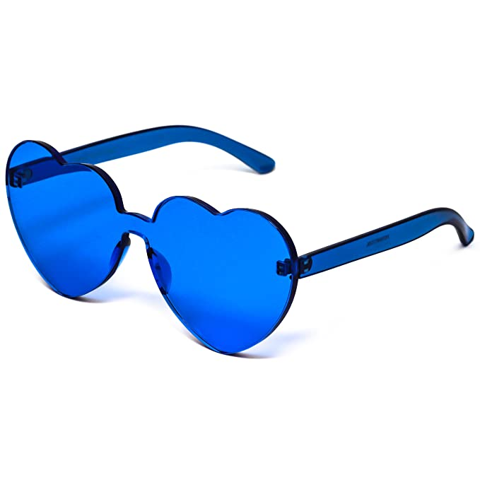 552623562f4 Image Unavailable. Image not available for. Color  Elite Love Candy Color  Heart Shape Sunglasses For Women Rimless Frame Colorful Mirror Tinted Lens  Glasses