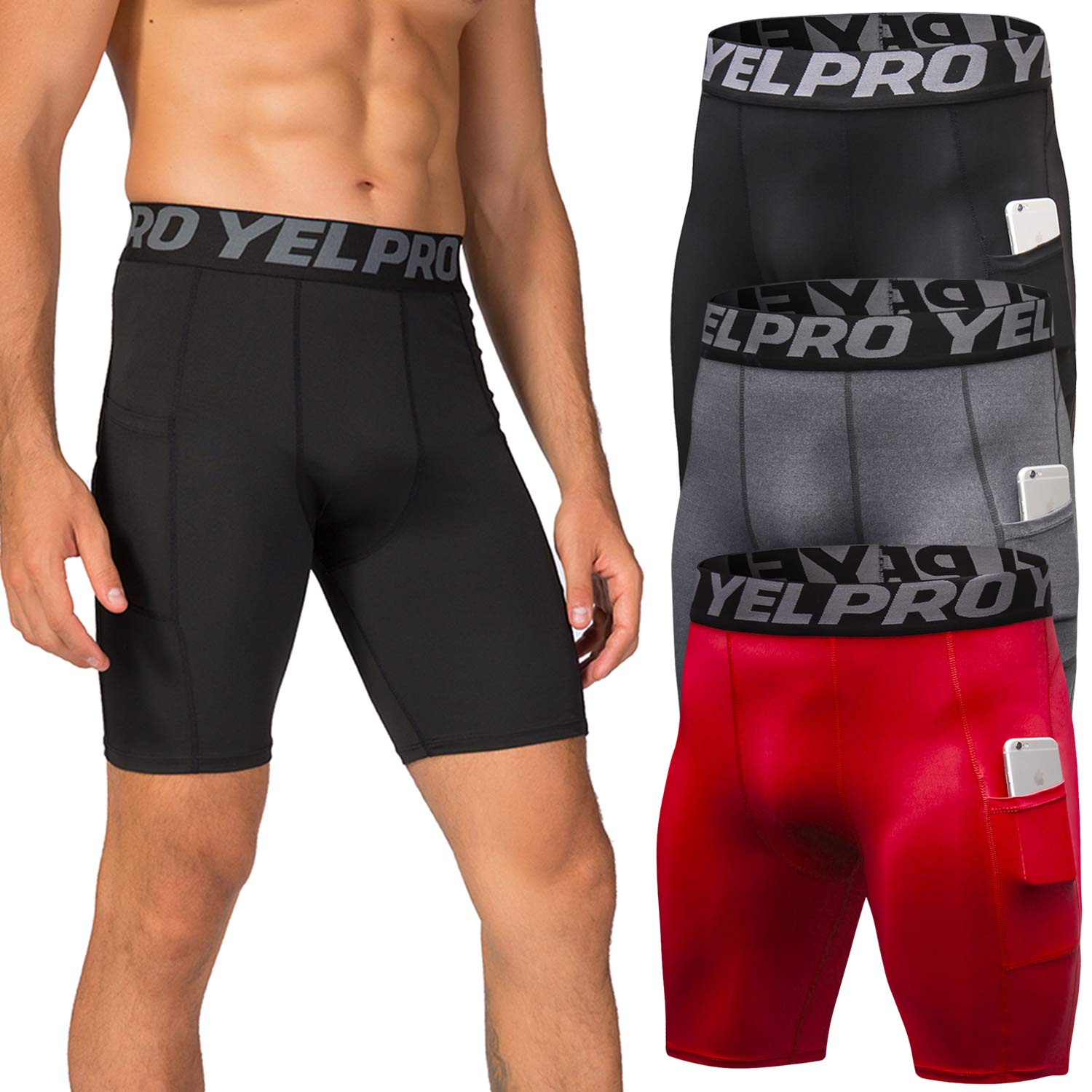 Lavento Men's Compression Shorts Sports Baselayer Cool Dry Tights (3 Pack-3814 Black/Gray/Red,Medium) by Lavento