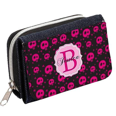 Monogram Rosa Calaveras & Cruz Huesos MG20 personalizada Mujer Denim Bolso Niñas Cartera de regalo *