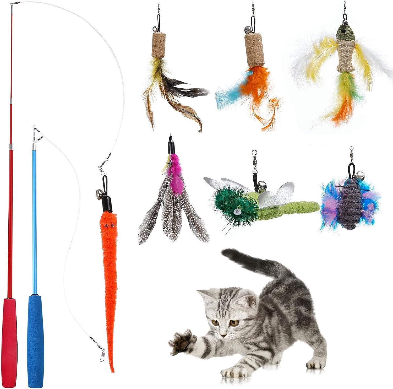 PETTOM Juguete con Plumas para Gato (9 PCS), 7 PCS Plumas de Recambio con Campanas y 2 PCS Varitas Retráctiles, Cañas de Pescar Juguetes Interactivos de Cazador para Ejercitar Gatos Gatitos Mascota