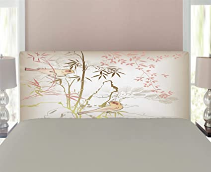 Lunarable Bamboo Tree Headboard For Twin Size Bed, Vintage Nature Bamboo  Leaf And Cute Birds