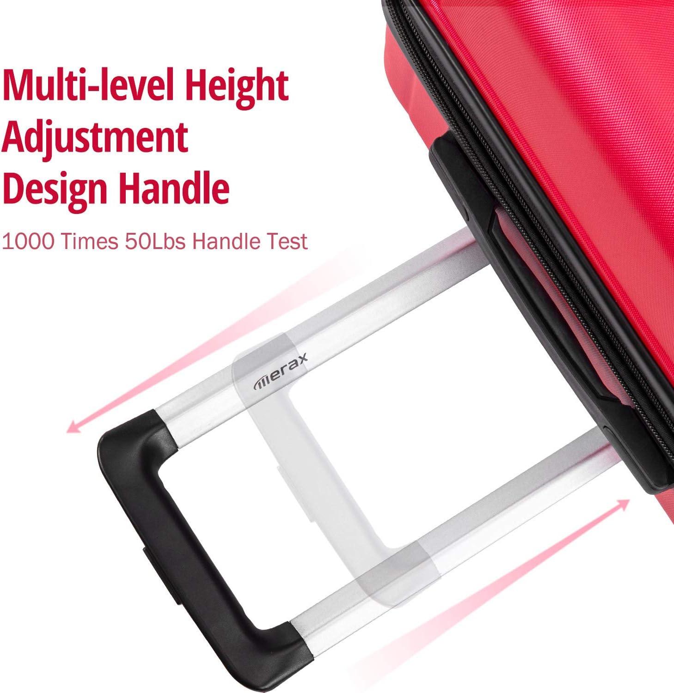 "3 Pcs Set-Purple Merax Luggage Sets 3 Pcs Spinner Suitcase Hardshell Lightweight 20/""24/""28/"""