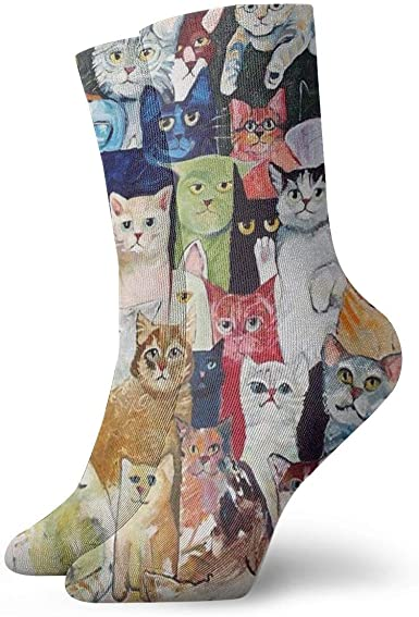 yting Gatos Calcetines de vestir de animales Calcetines divertidos ...
