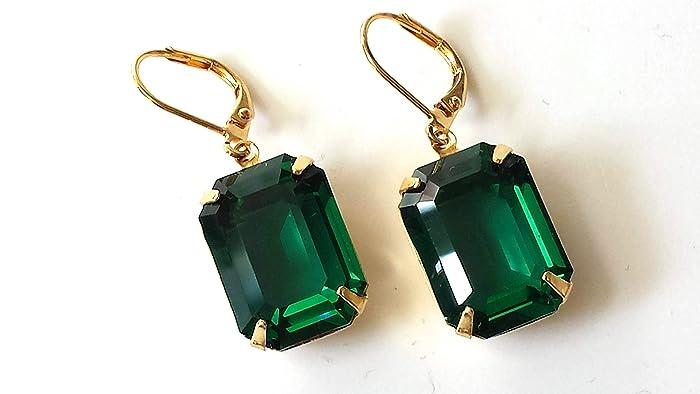 87cf5e0ca7d8b Amazon.com: Swarovski Emerald Crystal Earrings Vintage Rhinestone ...