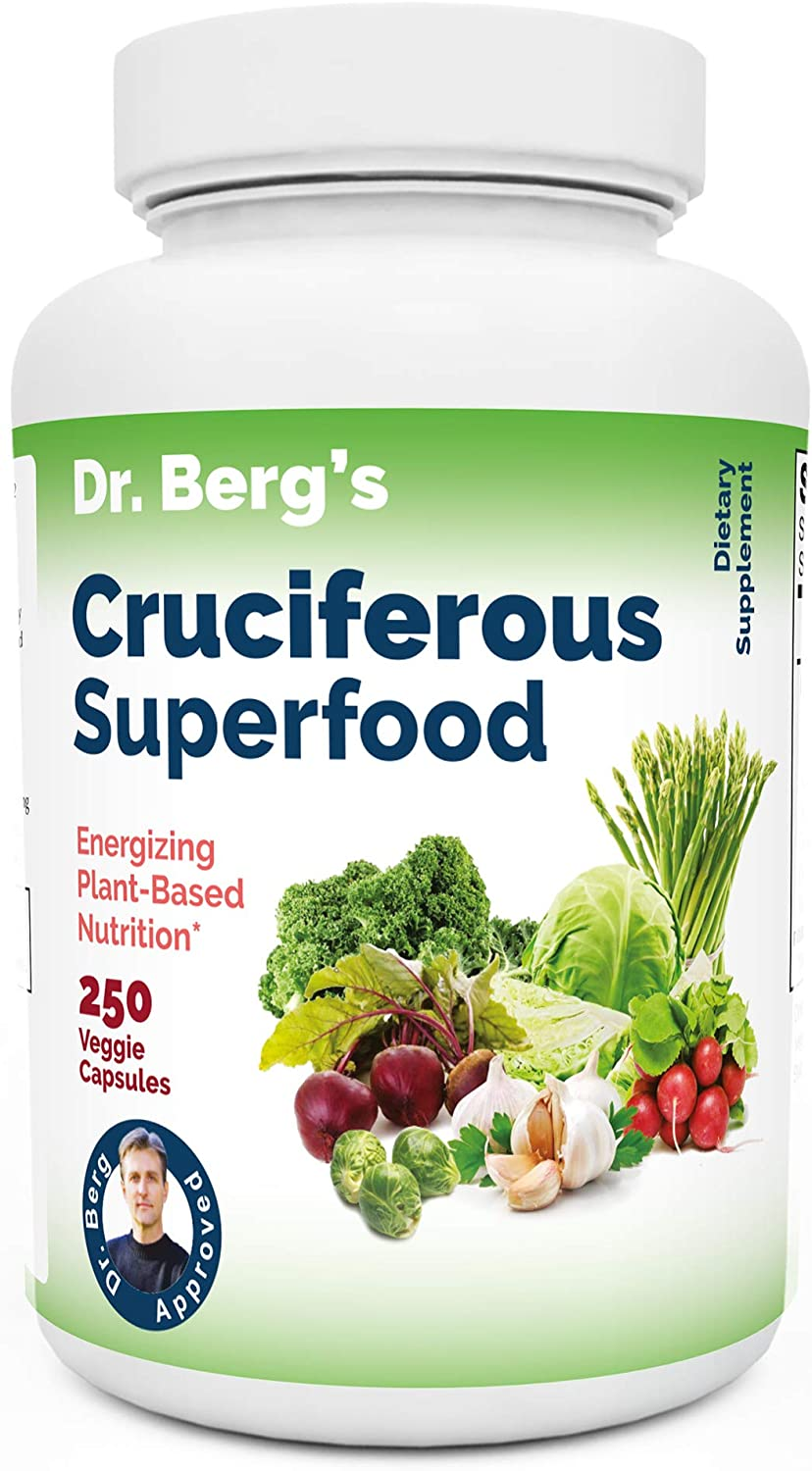 Dr Berg's Cruciferous Superfood Vegetable Dietary Supplement - Whole Food Support Healthy Liver, Immune System, Maximum Energy - Phytonutrient Blend - 250 Veggie Capsules