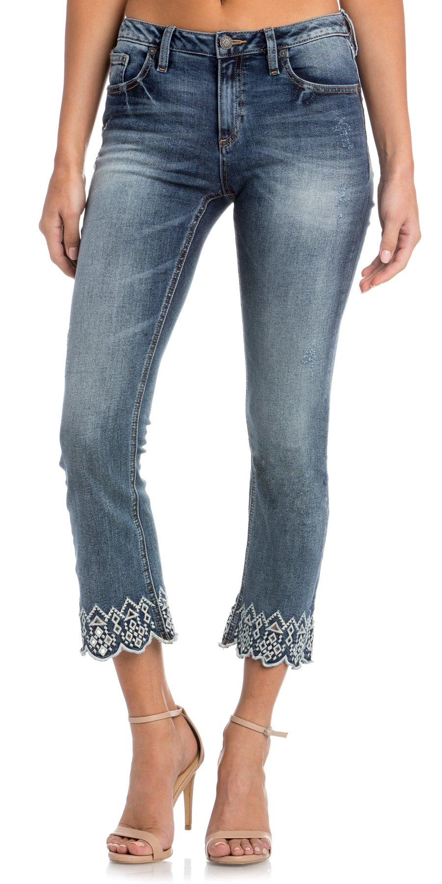 Miss Me Junior's Mid-Rise Cropped Boot Cut Jeans, Medium Blue, 31