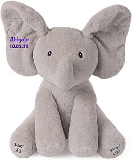 Personalized Baby Stuffed Animals, Amazon Com Gund Personalized Baby Animated Flappy The Elephant Plush Toy Embroidered Toys Games