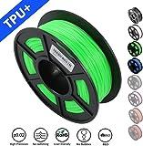 SUNLU 1.75mm Flexible TPU 3D Printing Filament, Dimensional Accuracy +/- 0.02 mm, 1KG Spool, 1.75 mm, Green