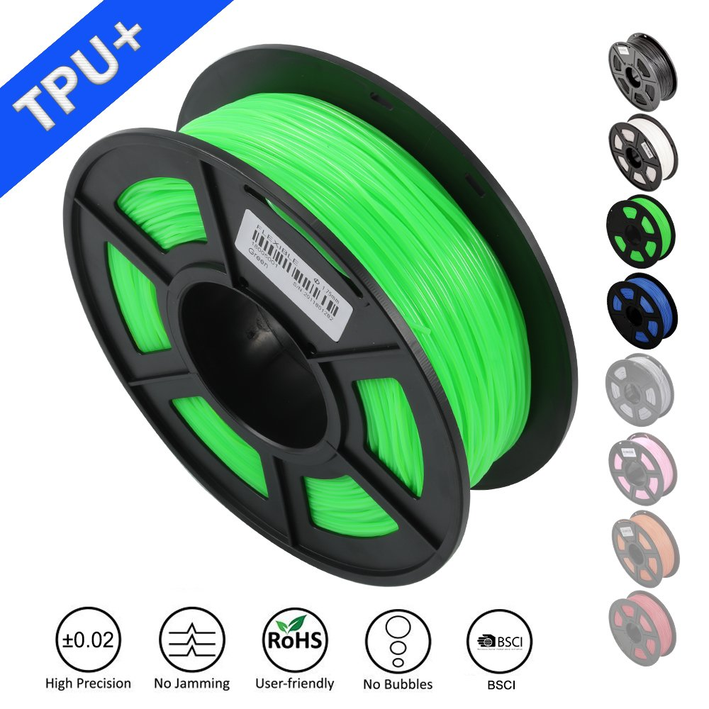 SUNLU 1.75mm Flexible TPU 3D Printing Filament, Dimensional Accuracy +/- 0.02 mm, 1KG Spool, 1.75 mm, Green SUNLUGW