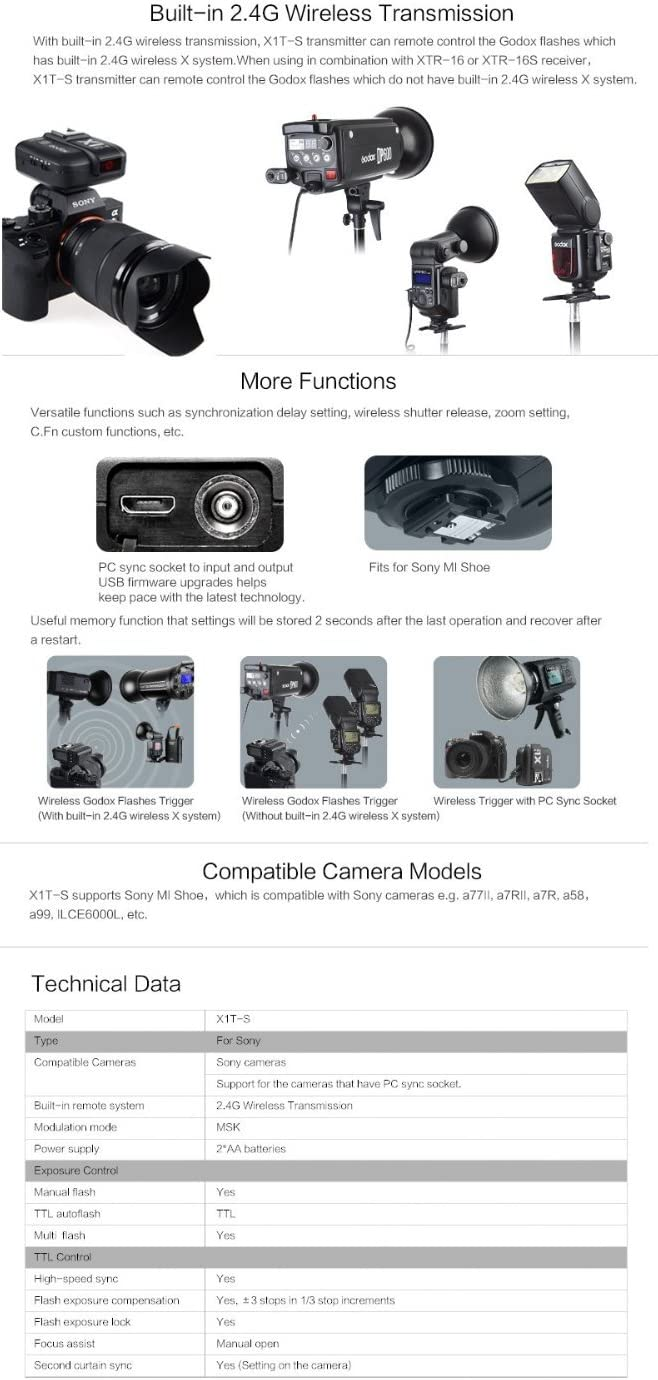 X1T-S 2.4G TTL Wireless Flash Trigger Transmitter Compatible with Sony DSLR Camera a6000 a6300 a7 a7ii A7RII A7R A7S A58 A99 Mcoplus Cleaning Kit