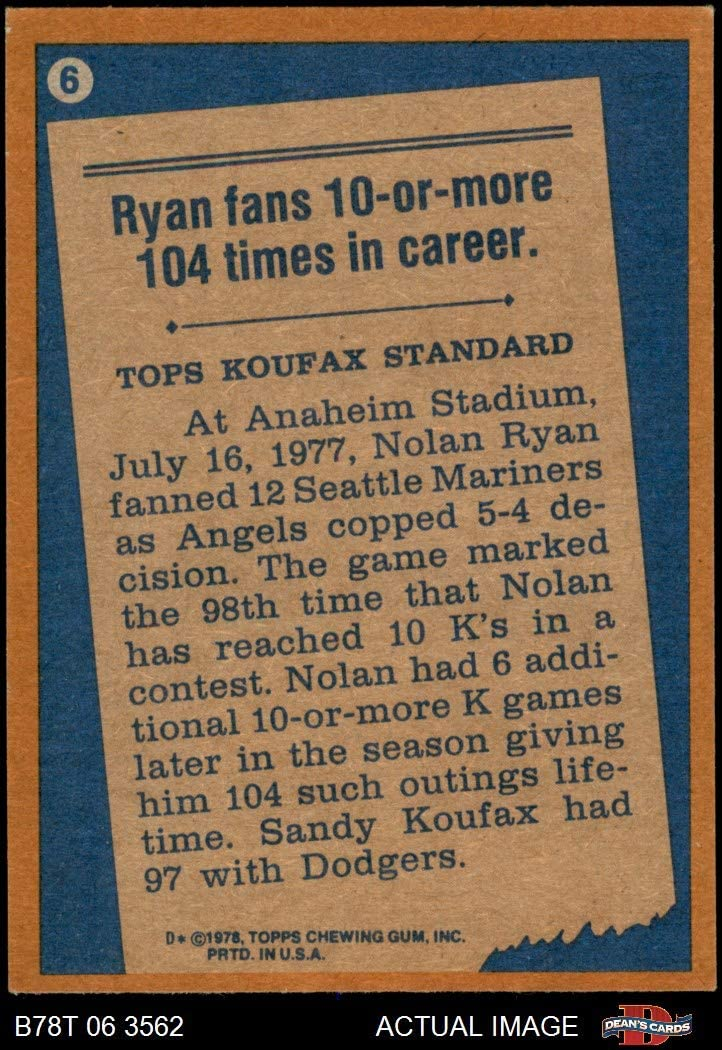 EX Angels Deans Cards 5 Baseball Card 1978 Topps # 6 Record Breaker Nolan Ryan Los Angeles Angels