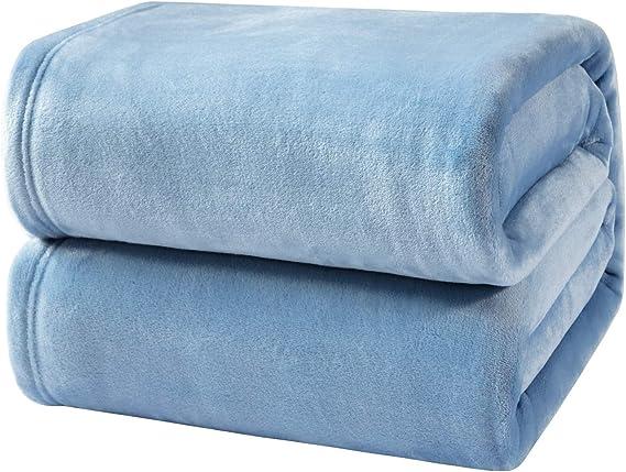 Bedsure Mantas para Sofás de Franela 220x240 cm - Mantas para Cama de 150/135 Reversible de 100% Microfibre Extra Suave - Manta Azúl Transpirable