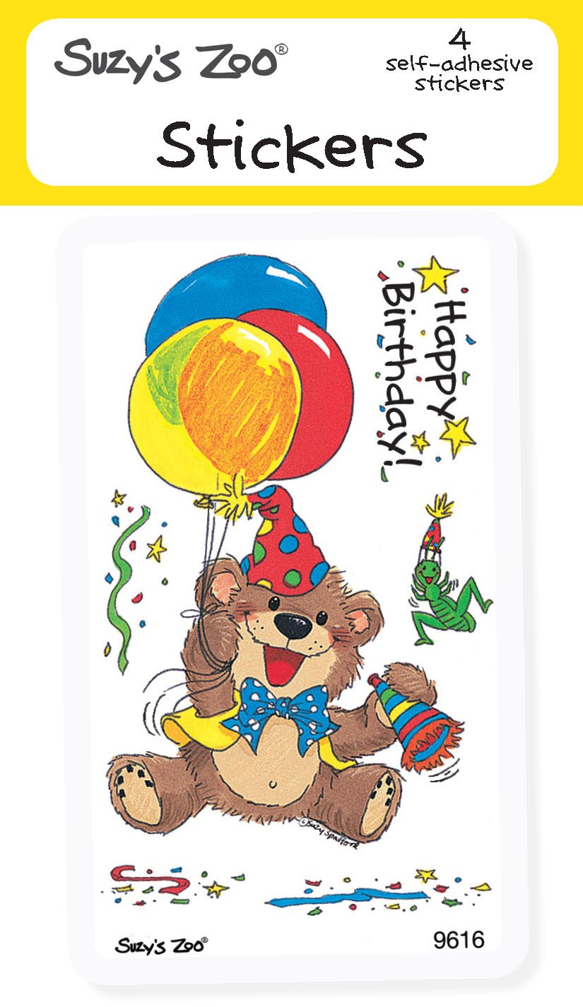 amazoncom suzys zoo stickers 4 pack happy birthday 10126 - Suzy Zoo Coloring Pages Printable