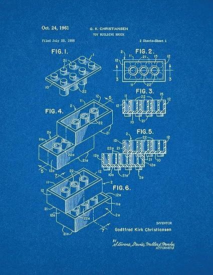 Amazon lego toy building block patent print art poster lego toy building block patent print art poster blueprint 85quot malvernweather Choice Image
