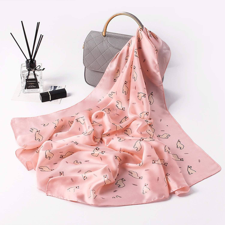 Women Scarf Luxury Brand Cute Print Hijab Pure Silk Shawl Scarfs Square Head Scarves