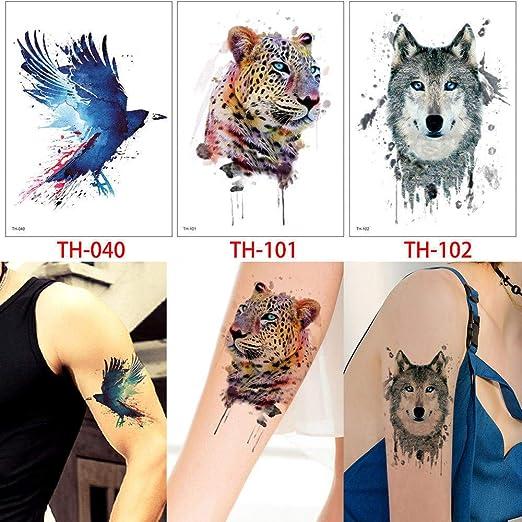 adgkitb Imagen de Leopardo Temporal del Tatuaje Animal del Lobo ...