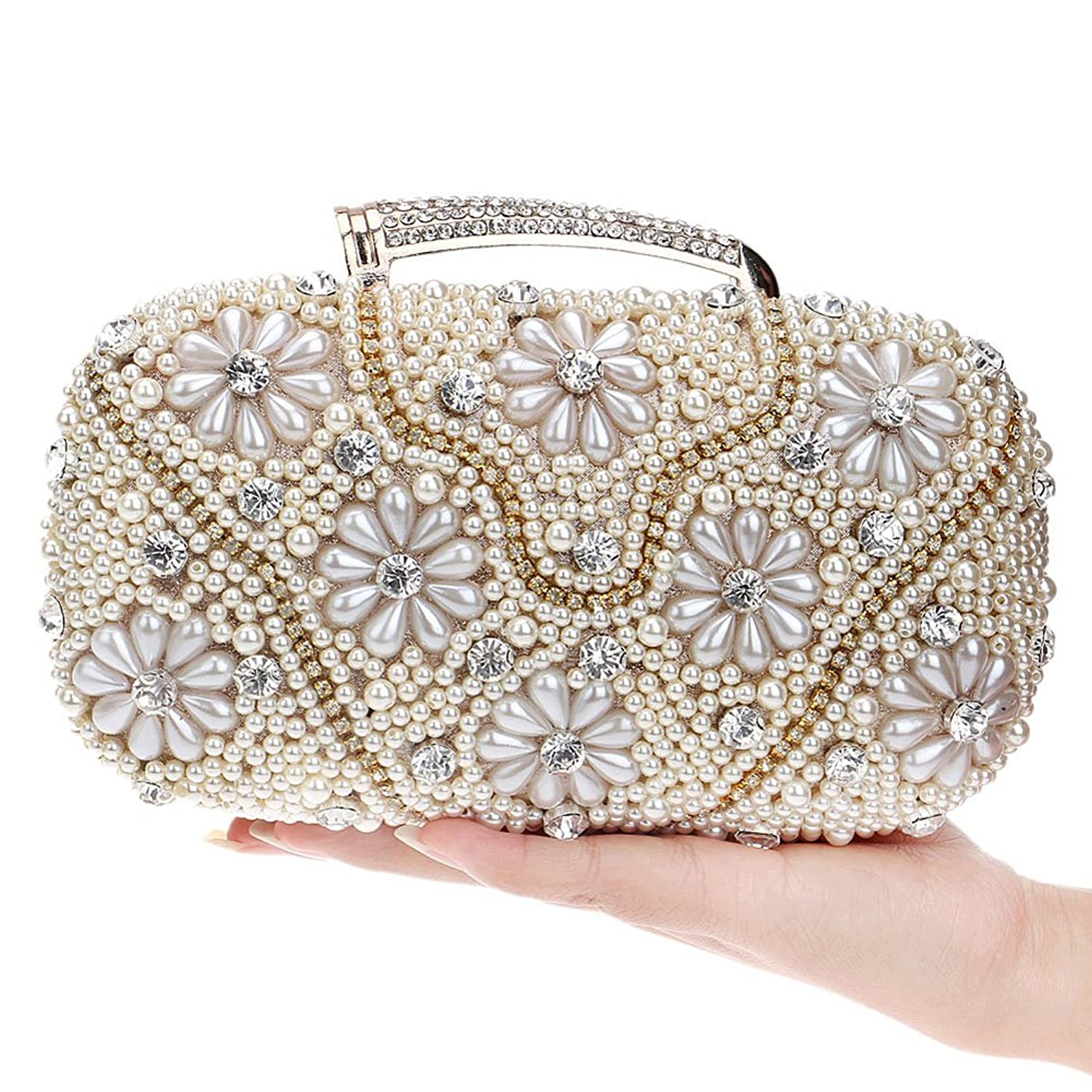 Mlotus Ladies Pearl Bead Crystal Evening Handbag Bags Cocktail Clutch Puese