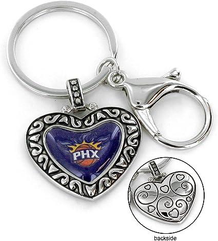 Aminco Nba Phoenix Suns Charmed Heart Schlüsselanhänger Silber 5 Stück Sport Freizeit