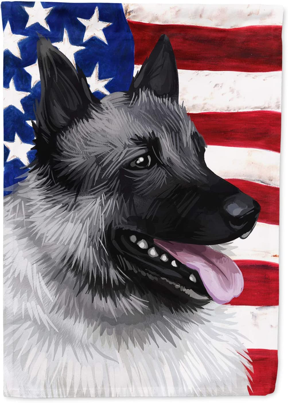 Caroline's Treasures CK6631GF Norwegian Elkhound Dog American Flag Flag Garden Size, Small, Multicolor
