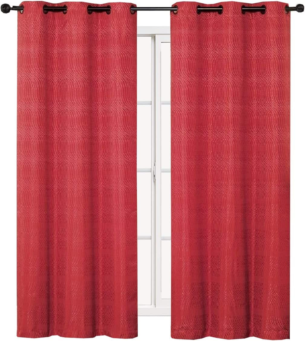 sheetsnthings Murry 76-Inch Wide x 84-Inch Long, Jacquard Thermal Insulated, Set of 2 Blackout Curtains, Red