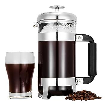 TOP-MAX - taza de prensa francesa cafetera 8 Copa cafetería café té prensa eléctrica con acero inoxidable y vidrio resistente al calor para al aire libre ...