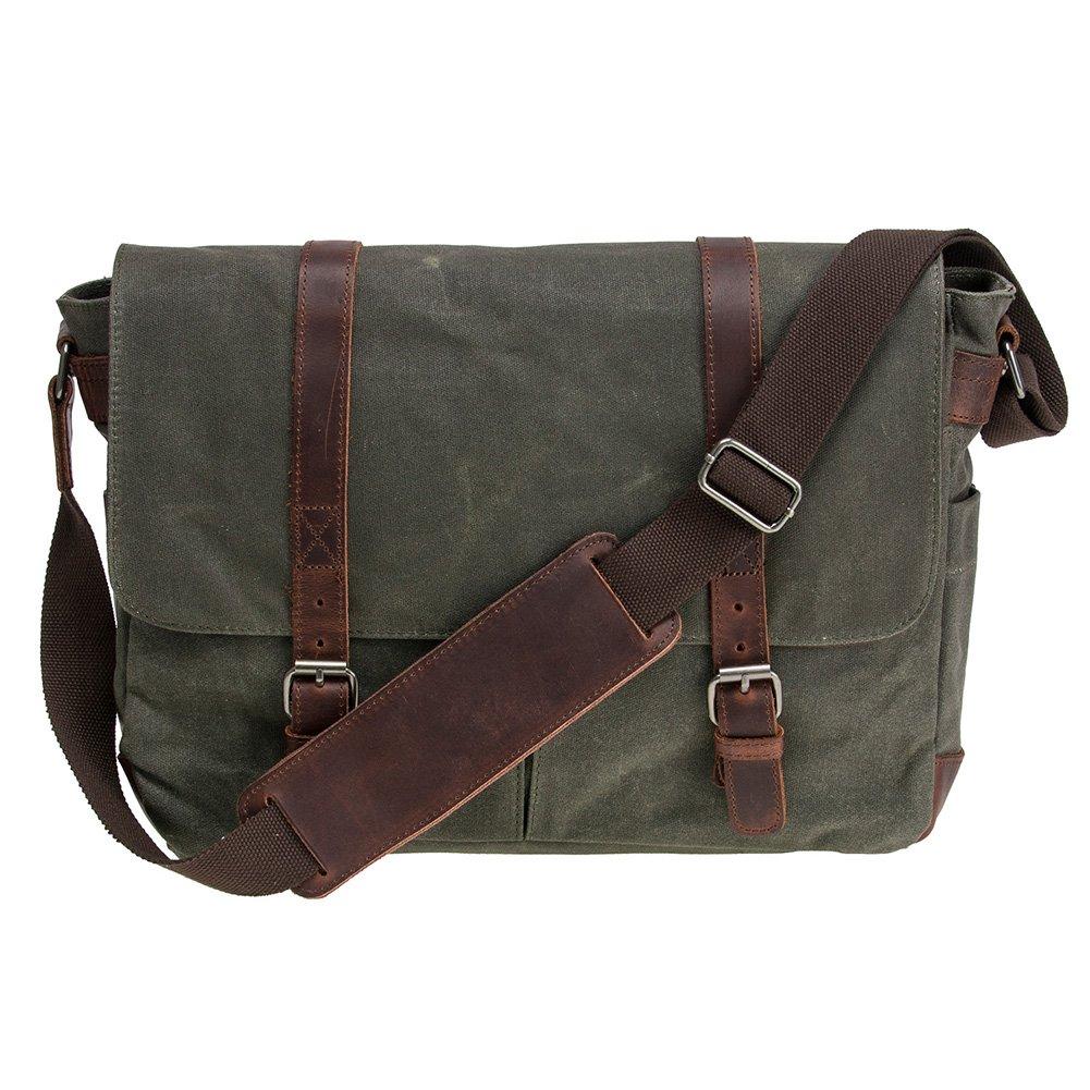 Waterproof Waxed Canvas 15'' Macbook pro/14'' Laptop Messenger Bag Men Business Vintage shoulder bag/Briefcase