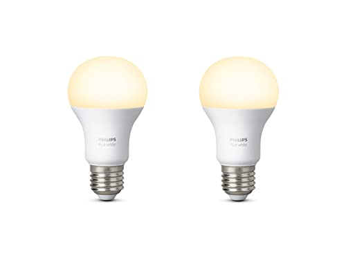 Philips Hue White Twin Pack A19 E27 60 W Equivalent Dimmable LED Smart Bulb (Compatible with Amazon Alexa, Apple HomeKit and Google Assistant)