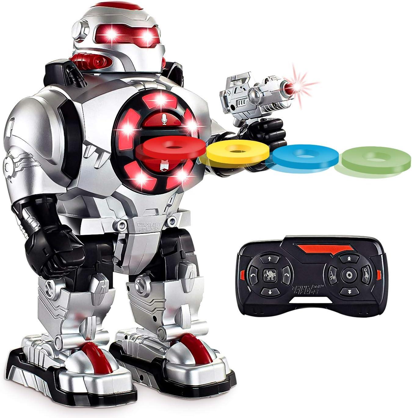 Think Gizmos Robot de Juguete con Control Remoto y Grabación de Voz - Robot teledirigido con Luces y Sonidos - Robot para Niños y Niñas Que Dispara Misiles Habla y Baila - TG542-VR