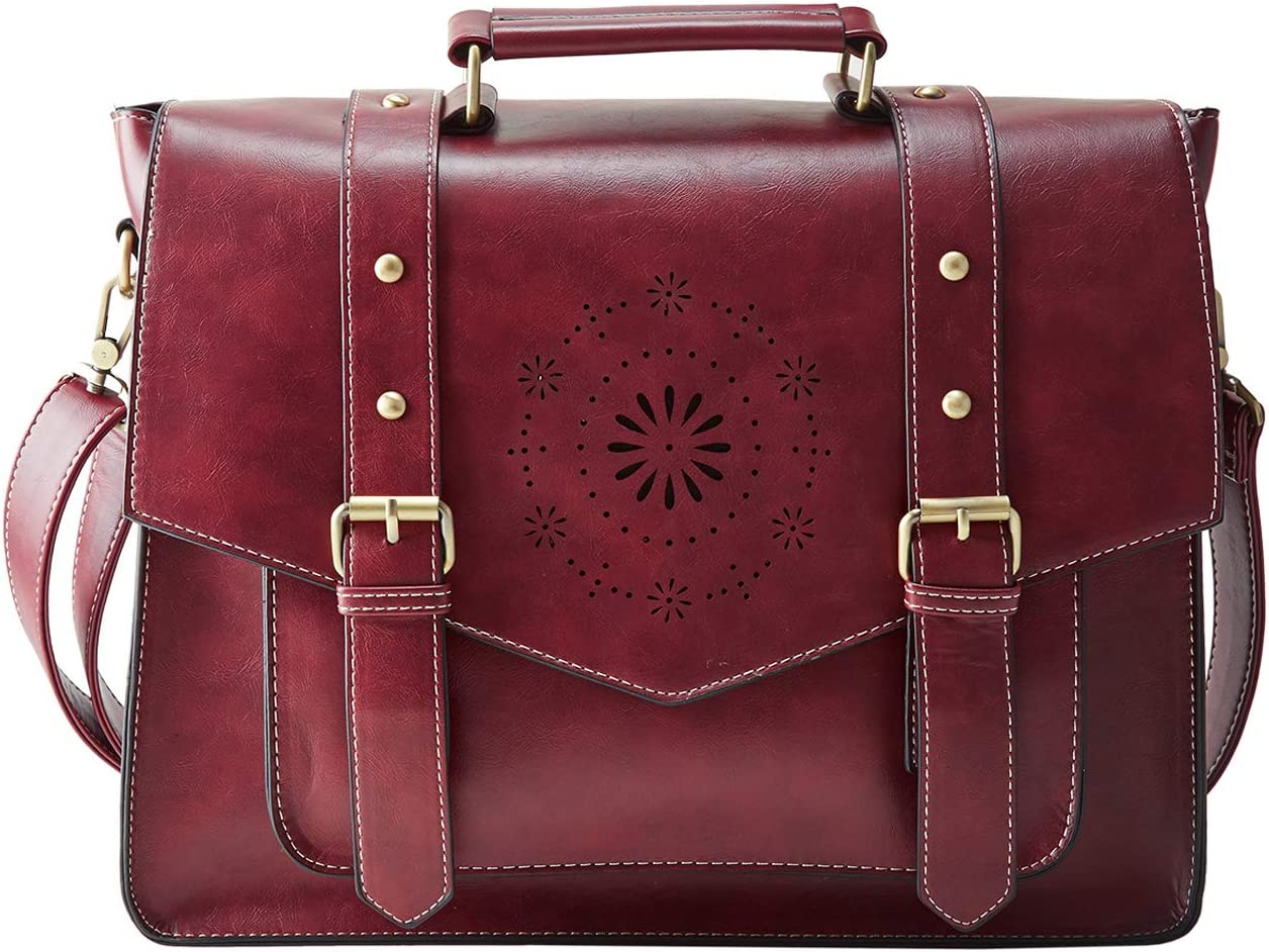 "ECOSUSI Messenger Bag for Women Briefcase Messenger Laptop Bag PU Leather Satchel Work Bags Fits 14"" Laptop, Red"