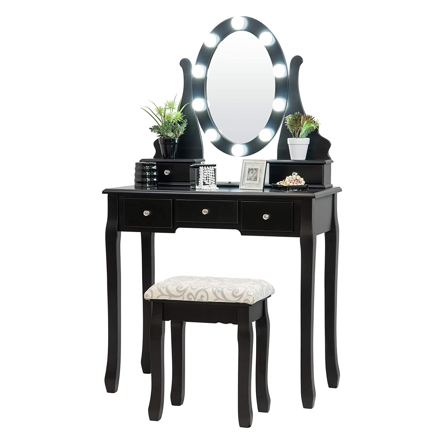 Amazon com fineboard fb vt21 bk dressing table with stool and led lights with 5 drawers and mirror black kitchen dining