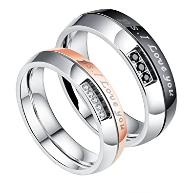 50e2de0fae JAJAFOOK 2PCS/PACK His and Hers Stainless Steel ps: I Love You Couple Rings  Matching Set Wedding Engagement Band Amazon.com