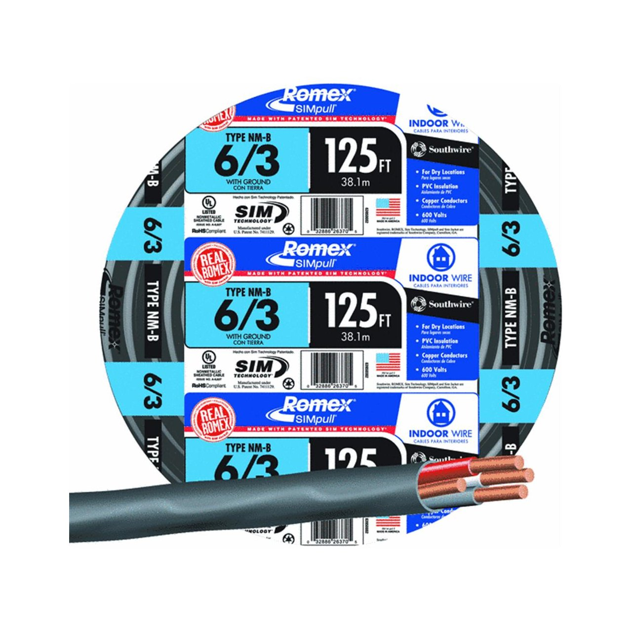 Southwire #63950002 125\' 6/3 W/G NMB Cable - Electrical Wires ...