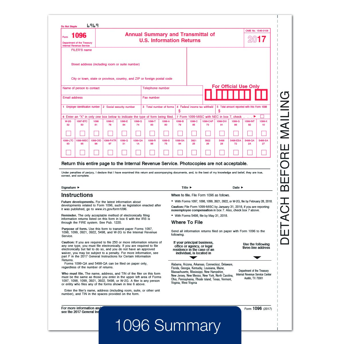 Amazon tops 1099 misc inkjetlaser tax forms for 2017 5 part amazon tops 1099 misc inkjetlaser tax forms for 2017 5 part form sets for 50 recipients and a 1096 summary transmittal form tx22993 17 made in falaconquin