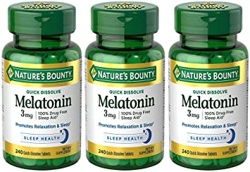 Amazon.com: Melatonin 3 mg, 3 Bottles (240 Count): Health & Personal ...