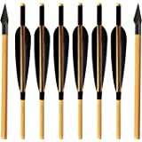 "ARCHERY SHARLY Archery Wooden Arrows 5"" Natural Turkey Feather Fletching for Recurve & Long Bow Targeting Practice Shooting(6"