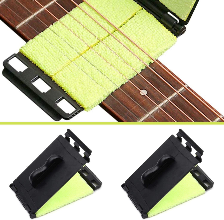 Limpiador de Cuerdas Para Guitarra, Limpiador de cuerdas de instrumentos, Paño de Limpieza de Diapasón, para Guitarra, Bajo, Mandolina, Ukelele, violín y otros instrumentos, 2 Piezas