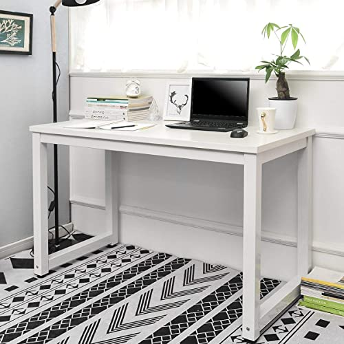 Homesailing I Shape Wood Computer PC Gaming Desk Table White