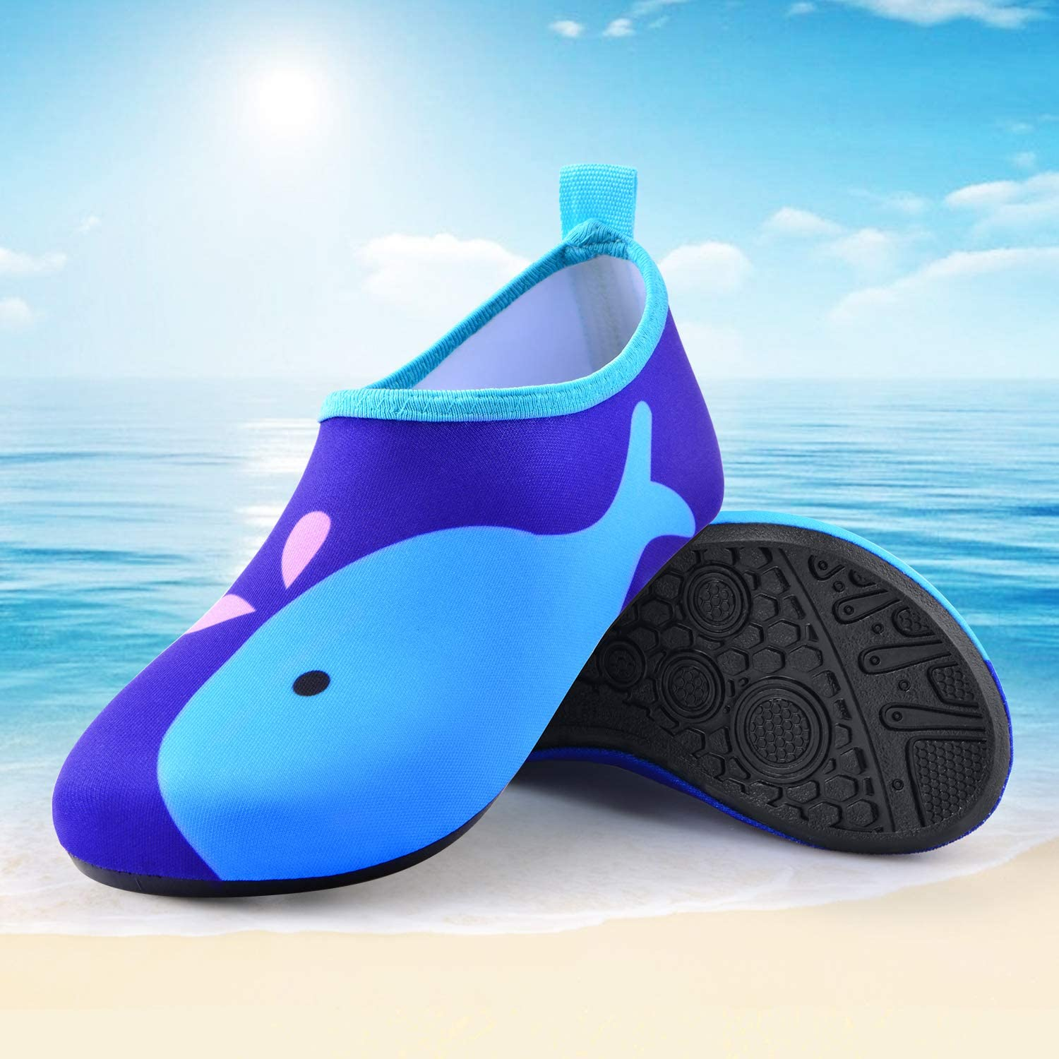 Sunnywoo Water Shoes for Kids Girls Boys,Toddler Kids Swim Water Shoes Quick Dry Non-Slip Water Skin Barefoot Sports Shoes Aqua/Socks for Beach Outdoor Sports
