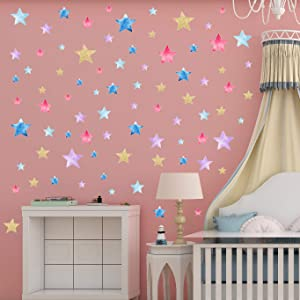 Star Heart Wall Decals 2 Pcs Kids Party Multi-Color Removable Stickers Decor for Bedroom, Door, Refrigerator, Window, Wardrobe, Glass, Table Etc. (Star)