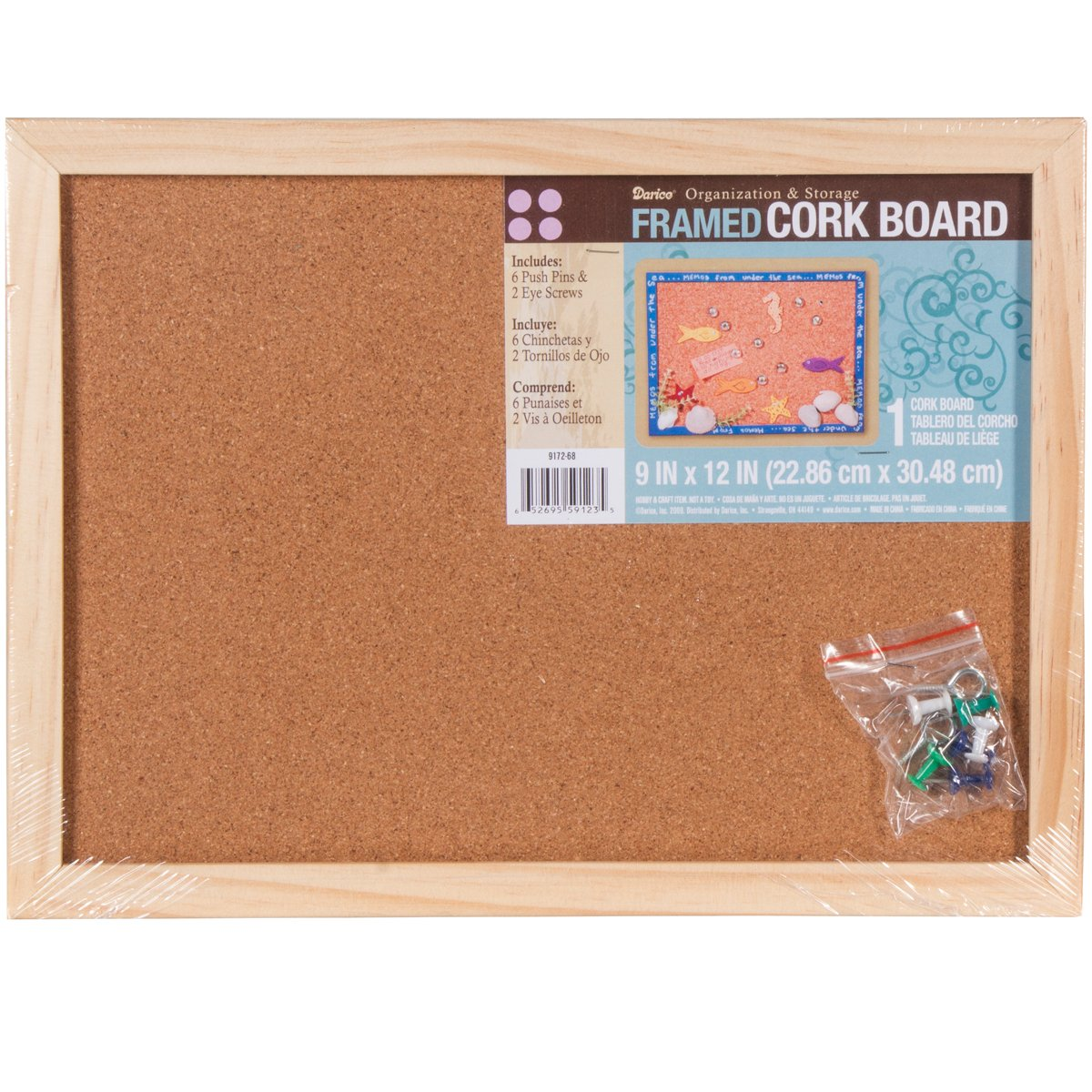 Darice 9172-68 Cork Memo Board, 9 by 12-Inch