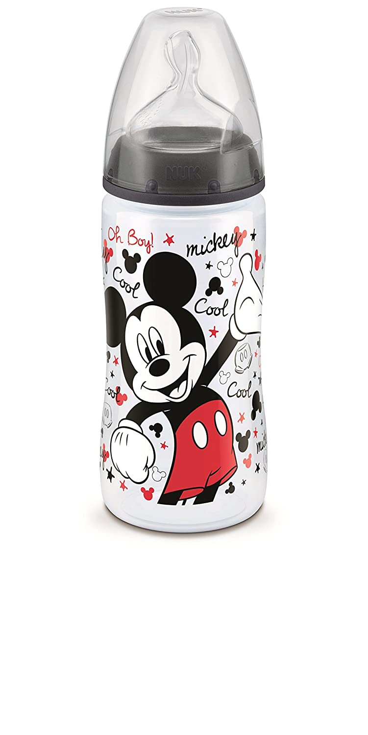 Nuk Disney Set of 3 Mickey Baby Bottles with Silicone Teats - Size 2 (6-18 Months) - Assorted Colours 80603014