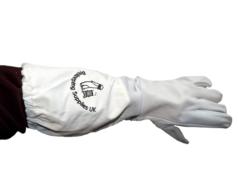 Beekeeping Supplies UK Ltd Guantes de Apicultor con puños Largos ventilados, algodón y Piel, Varios tamaños, L (Talla de los Nudillos 23 cm): Amazon.es: Productos para mascotas