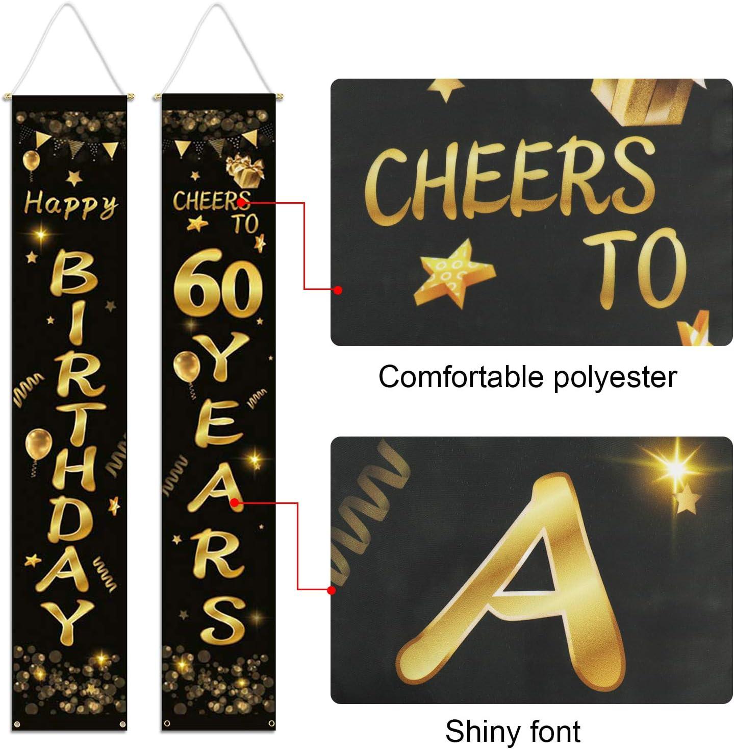 Saluti a 60 Anni Striscione 60 /° Compleanno Porta Striscione Decorazione per 60 Anni Compleanno Forniture HOWAF 2pcs 60 /° Compleanno Decorazioni Nero e Oro Striscione di Buon Compleanno