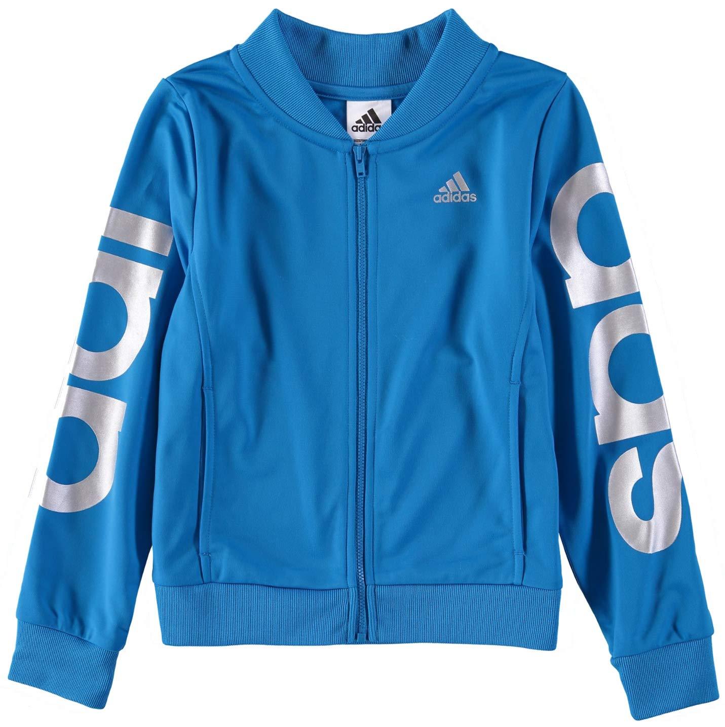 adidas Girls' Track Jacket (S (7/8), Bright Blue) by adidas