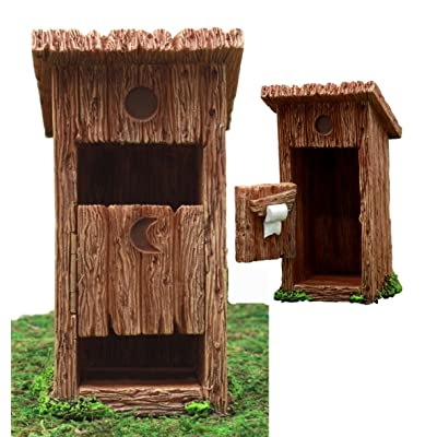 Atlantic Collectibles Enchanted Fairy Garden Miniature Colonial Rustic Toilet Outhouse With Hinged Door & Toilet Roll Setup Figurine Do It Yourself Ideas For Your Home : Garden & Outdoor