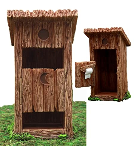 Amazon atlantic collectibles enchanted fairy garden miniature atlantic collectibles enchanted fairy garden miniature colonial rustic toilet outhouse with hinged door toilet roll solutioingenieria Images
