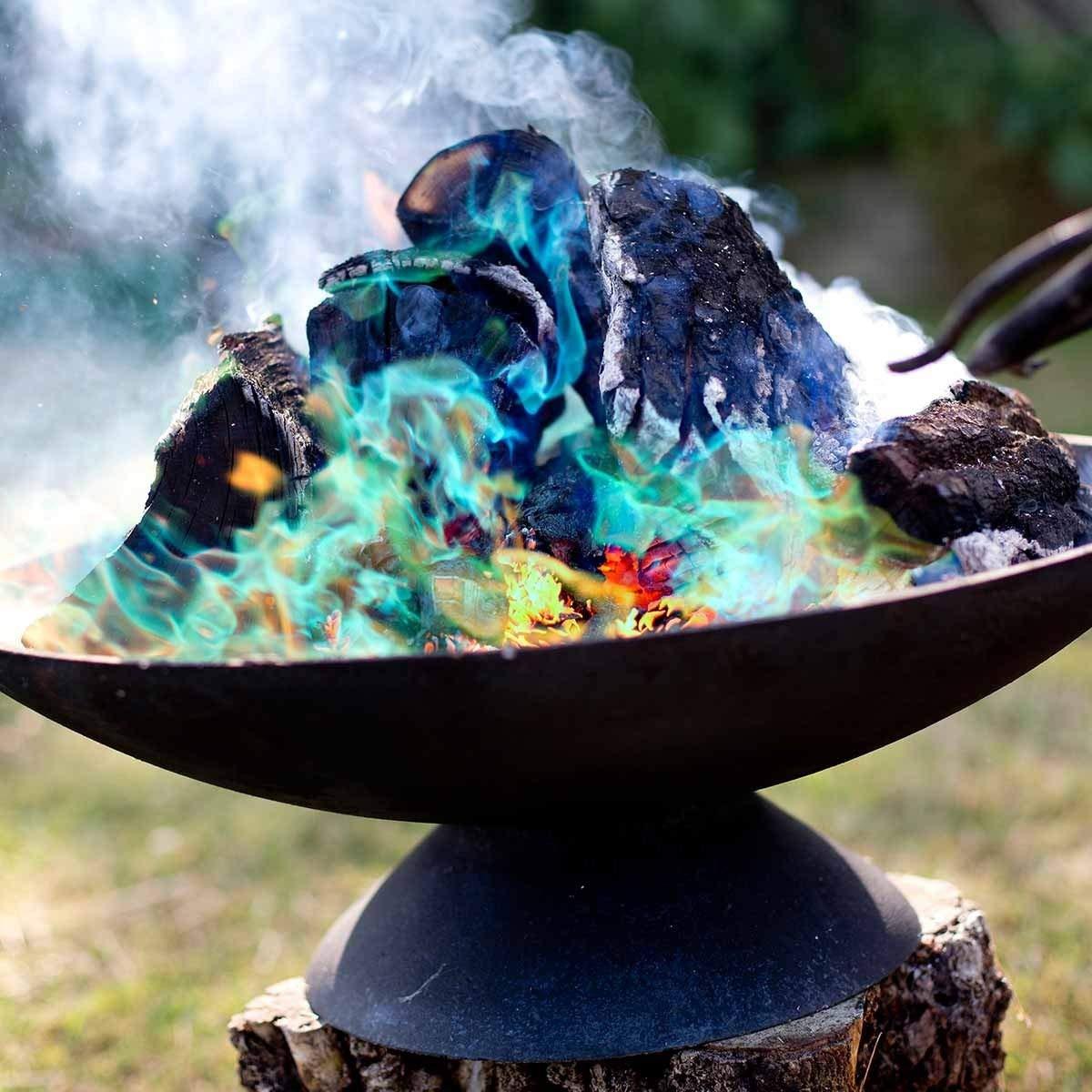 OSSIAN Mystical Rainbow Fire – Confezione da 6 bustine magiche di lunga durata che cambiano colore, polvere magica – perfetto per falò, caminetti, caminetti, caminetti, bruciatori a legna