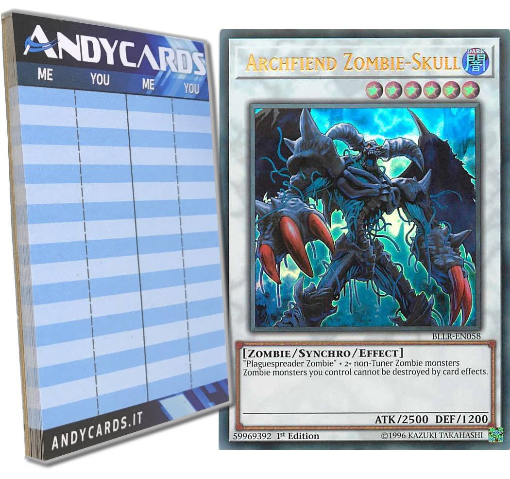 Yu-Gi-Oh! - ARCHFIEND ZOMBIE-SKULL - Ultra Rare BLLR-EN058 in ENGLISH + Andycards Scorepad .