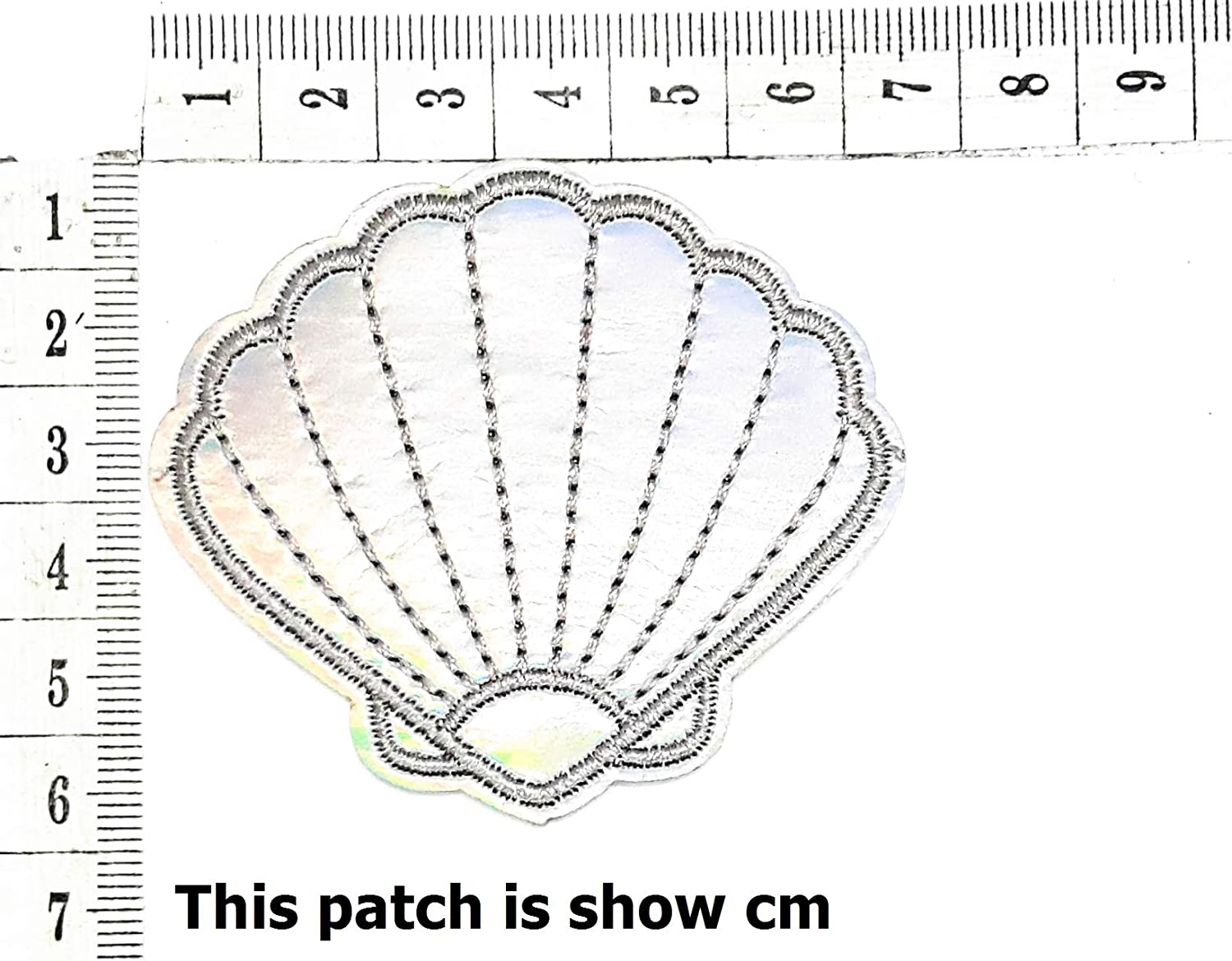 Shell Mermaid Seashell Pearl Summer Beach Ocean Shine Sparkling Cartoon Chidren Kids Embroidren Iron Patch/Logo Sew On Patch Clothes Bag T-Shirt Jeans Biker Badge Applique Devil Artwork