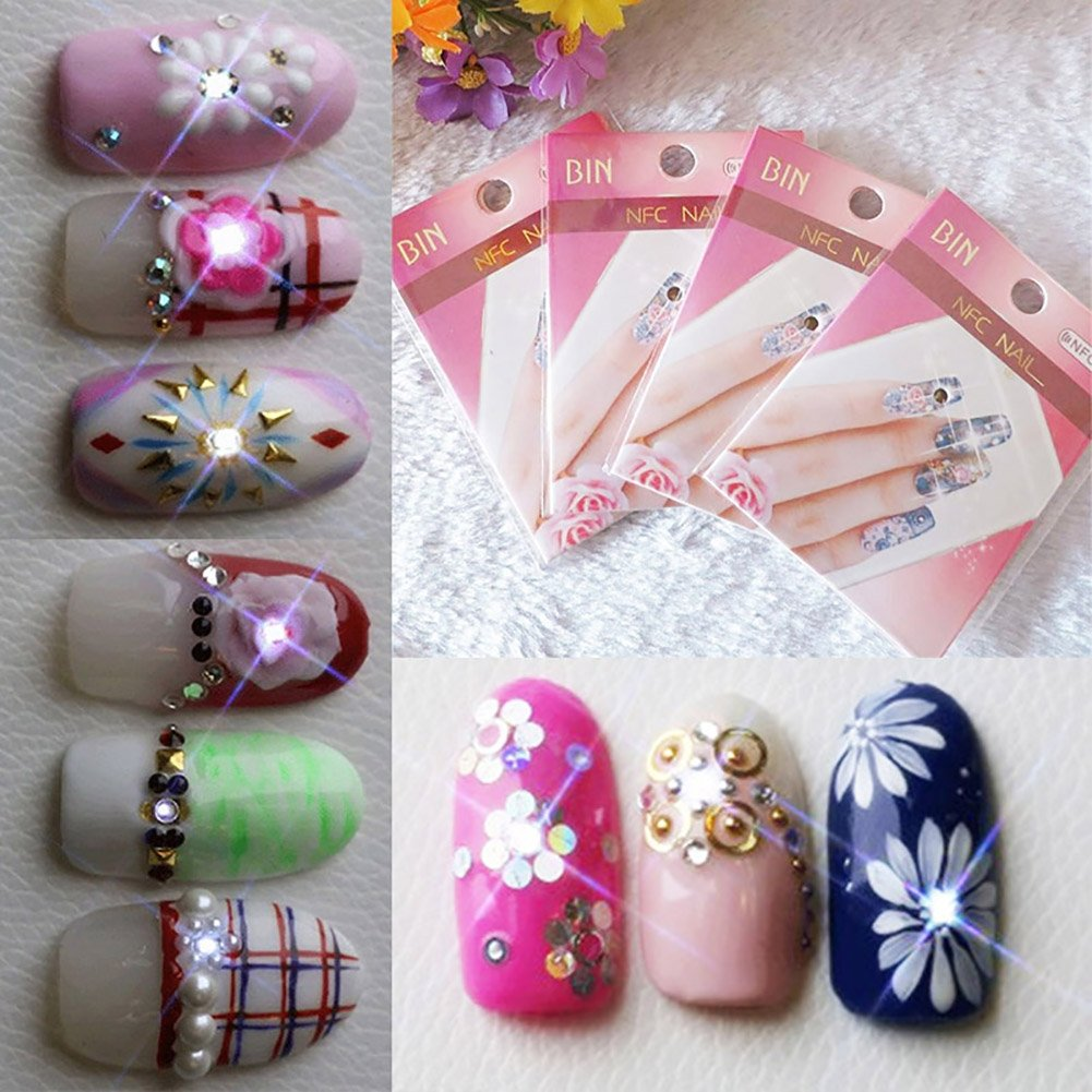 HUUATION Nail Art Decoration Nail Stickers Decals Nail Stickers with ...